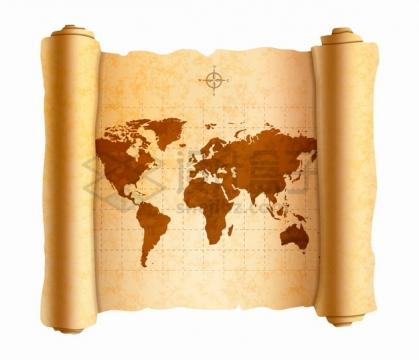 展开的复古卷轴中的世界地图png图片素材