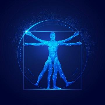 蓝色科幻风格点线组成的人体模型免扣图片素材