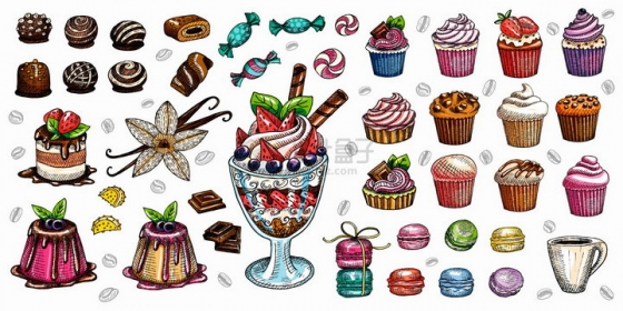 巧克力脏脏包蛋糕冰淇淋等美食彩绘插画png图片免抠矢量素材