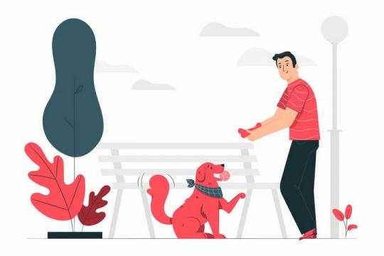 扁平插画风格在公园遛狗和狗狗玩耍的男人png图片免抠矢量素材