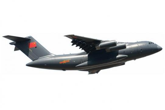 飞行中的运20军用大型运输机侧视图透明png高清免抠图片