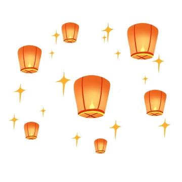 发光的橙色灯笼孔明灯天灯图片免抠素材