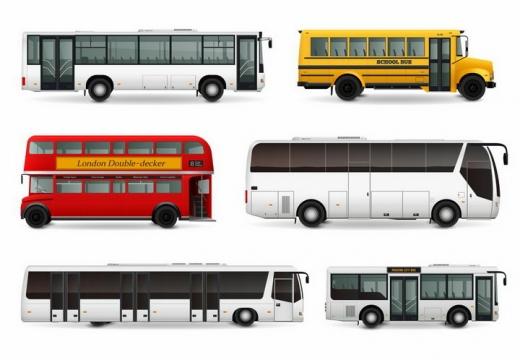 公共汽车黄色校车双层大巴车长途汽车侧视图png图片免抠矢量素材