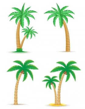 4款热带海岛上的椰子树免抠矢量图片素材