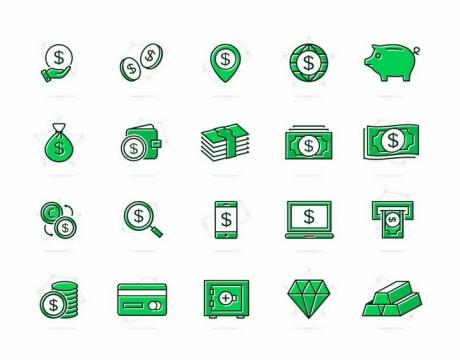 绿色的金币美元信用卡金砖等金融图标png图片免抠矢量素材
