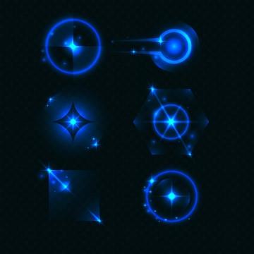 6款多边形风格发光星光效果图片免抠矢量图素材