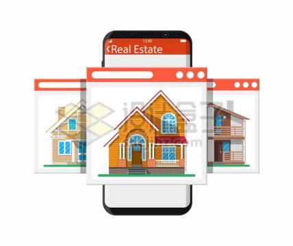 在手机上选择房子买房738076png矢量图片素材