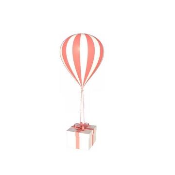 红色条纹吊着礼物的告白气球图片免抠素材