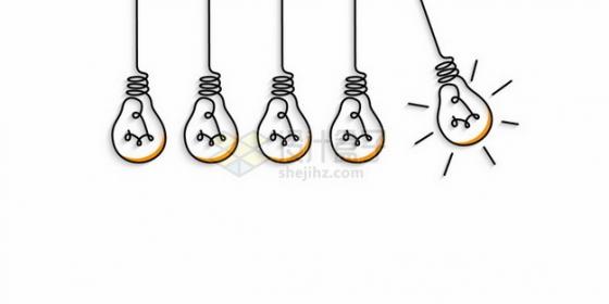创意抽象线条电灯泡700792png图片素材