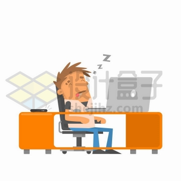 卡通商务人士上班期间偷懒打瞌睡睡觉png图片免抠矢量素材