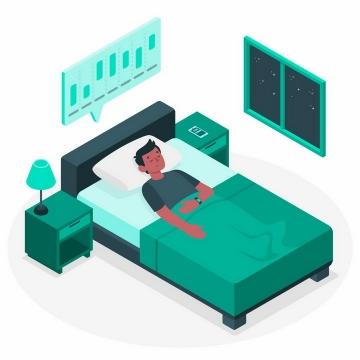 扁平插画风格躺在床上睡觉健康APP监测身体健康数据png图片免抠矢量素材
