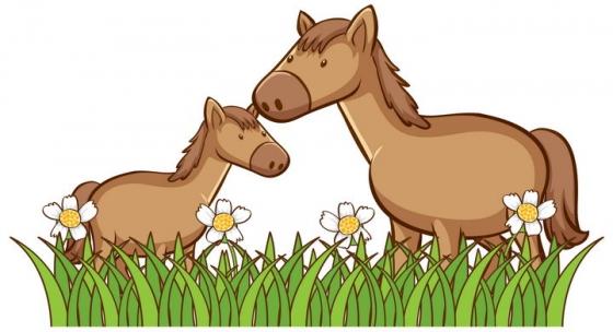 草丛花丛中的卡通野马野生动物图片免抠矢量素材