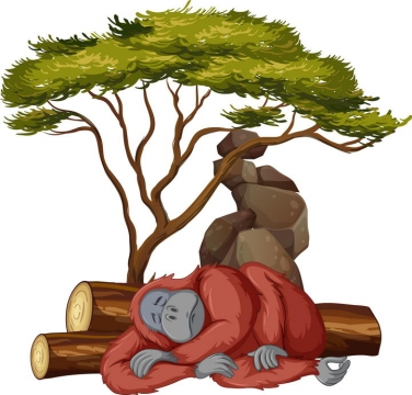 大树底下睡觉的红毛猩猩野生动物图片免抠矢量素材