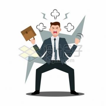 崩溃愤怒的卡通职员辞职不干了910753png矢量图片素材