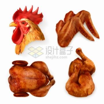 逼真的鸡头鸡翅烧鸡烤鸡和鸡大腿美味美食png图片素材