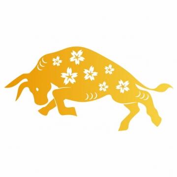 金色的公牛剪纸图案600561图片素材