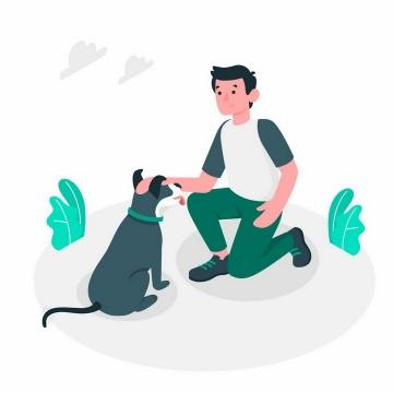 绿色扁平插画风格半蹲着逗狗玩遛狗的年轻人png图片免抠矢量素材