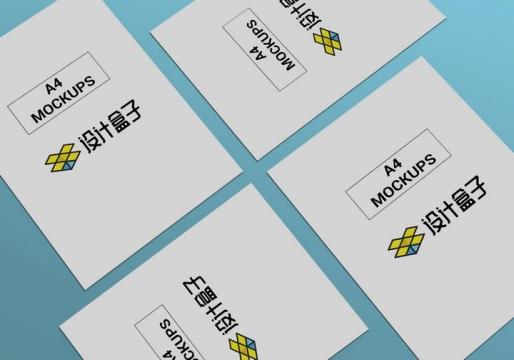 平铺的A4纸显示样机图片设计模板素材