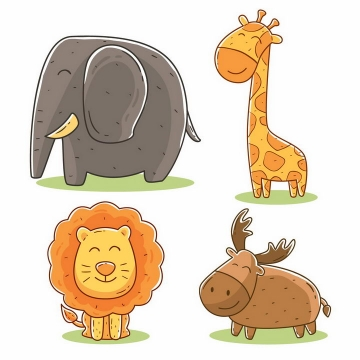 超级可爱的卡通大象长颈鹿狮子和麋鹿等动物png图片免抠矢量素材