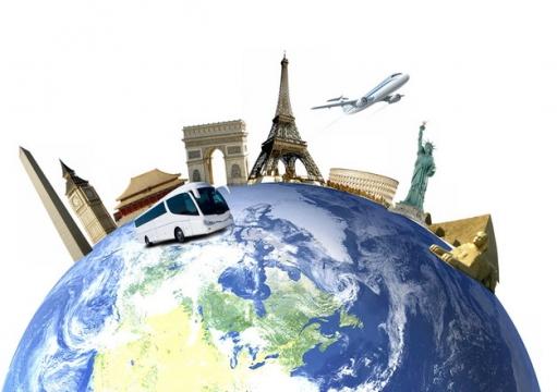 半个地球上的世界知名景点旅游插画930299png图片素材