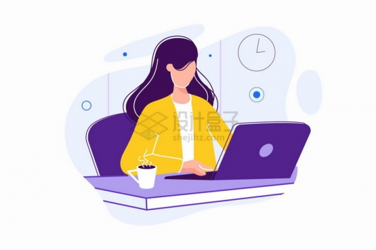 黄衣女孩使用笔记本电脑办公扁平插画png图片免抠矢量素材