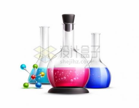 逼真的锥形瓶平底烧瓶等化学实验仪器387980png图片素材