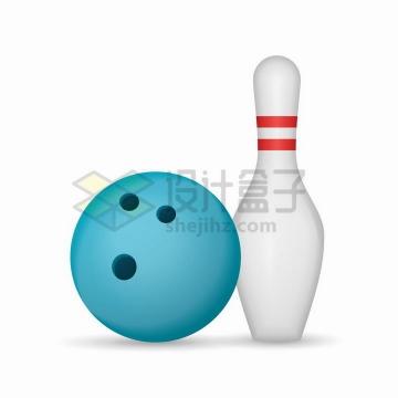 蓝色的保龄球和球瓶png图片免抠矢量素材