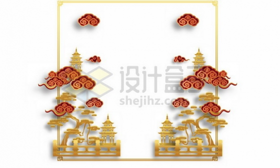 金色中国风风景图和红色祥云剪纸图案536424png矢量图片素材