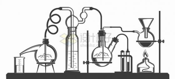 烧杯蒸馏烧瓶圆底烧瓶酒精灯试管架等化学实验仪器手绘插画png图片素材