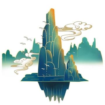 中国青色风山水图和祥云图片免抠png素材