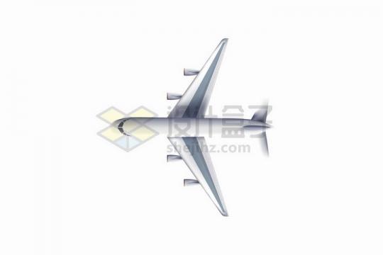俯视视角的银灰色大型客机飞机png图片免抠矢量素材
