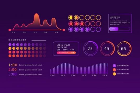 紫色渐变色科技风格PPT数据显示曲线图图片免抠矢量素材