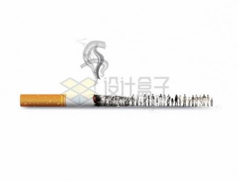 一根正在燃烧冒烟的香烟灰烬变成人群抽象插画805962png矢量图片素材