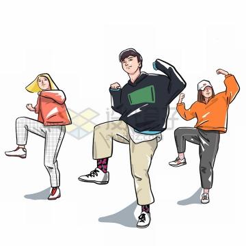手绘漫画风格跳街舞的三个青春年轻人png图片免抠素材