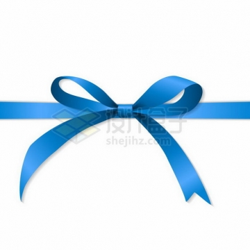 一款蓝丝带蝴蝶结png图片免抠矢量素材