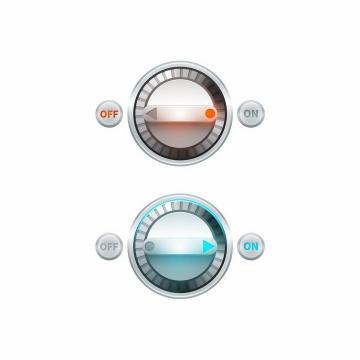 两款发光的旋钮开关按钮png图片免抠矢量素材