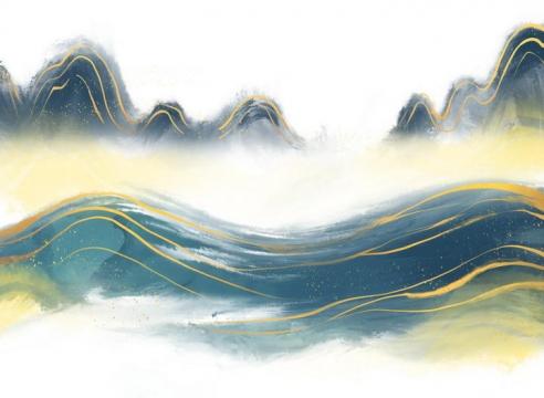 带有金丝装饰的深蓝色山水画图片免抠png素材