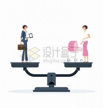 托盘天平两端的职场女性和家庭主妇女人该如何平衡家庭和事业png图片免抠矢量素材