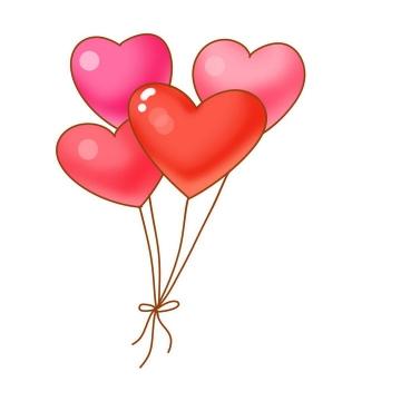 手绘卡通风格红色心形图案气球图片免抠素材
