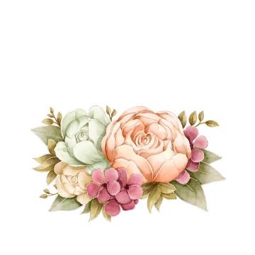 手绘风格盛开的牡丹花花卉花朵鲜花图片免抠矢量图