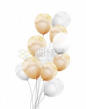 黄色和白色气球png图片免抠矢量素材