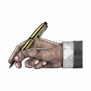 拿着钢笔写字拿笔姿势彩色手绘素描插画png图片免抠矢量素材