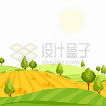 起伏的山坡草原农场田野农村乡村风景插画png图片素材