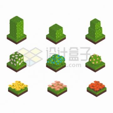 9款2.5D方块风格的花圃灌木丛园林公园植物png图片素材