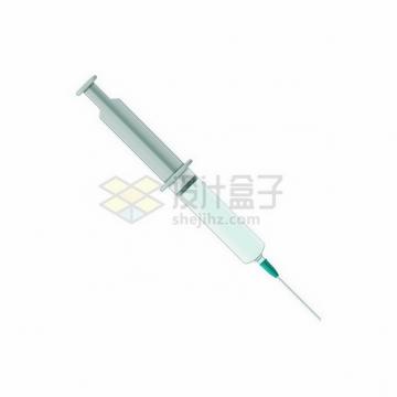 淡蓝色一次性注射器针筒png图片免抠矢量素材