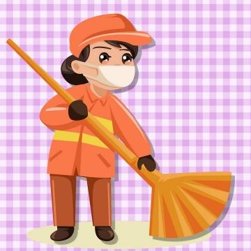 卡通风格环卫工人清洁工图片免抠素材