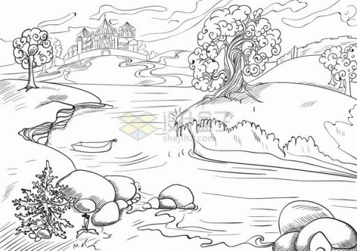 河流石头和大树风景手绘线条素描插画png图片素材