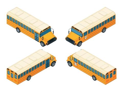 四种不同角度的校车图片免抠矢量素材