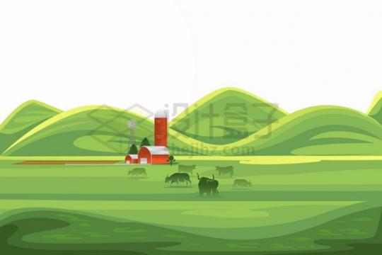 远处起伏的山坡和近处的草原田野农村乡村风景插画png图片素材