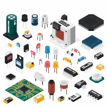2.5D风格电阻器电感器电容器集成电路发光二极管等png图片免抠矢量素材